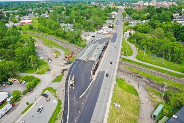 Aerial photos of temporary bridge over railroad tracks on